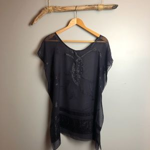Handmade Embellished Navy Sheer Poncho Tunic Top